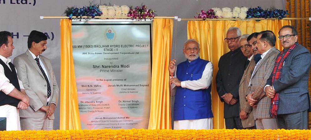 PM inaugurates Baglihar HEP II, lays foundation of 2 sections of Srinagar-Jammu NH