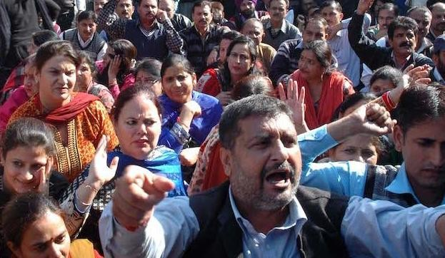 Teachers protest for release of salary in Jammu and Srinagar