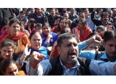 Teachers protest for release of salaries & other demands in Srinagar & Jammu