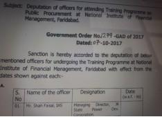 Deputation of officer for training to NIFM,Faridabad
