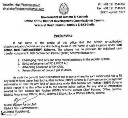 Deputy Commissioner, Jammu cautions against unauthorized's under