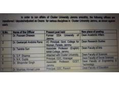 Adjustments as Deans for cluster university Jammu