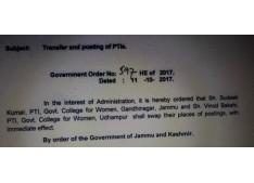 Transfer & posting of PTI's