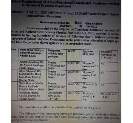 Regularization of Adhoc/Contractual/Consolidated Employees