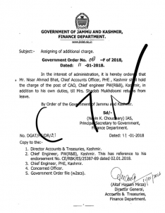 Assignment of charge of Chief Account Officer