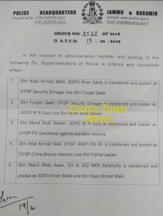 J&K Police orders Transfer and postings of DSPs