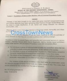 Post Curfew: DC Jammu fixes responsibility on Social Media Content