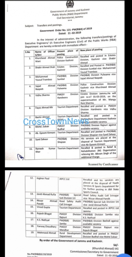 J&K Govt orders transfers and postings of 19 XENs