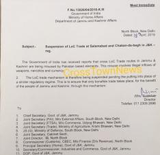 Suspension of LoC Trade at Salamabad and Chakan-da-bagh in J&K ?>