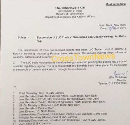 Suspension of LoC Trade at Salamabad and Chakan-da-bagh in J&K