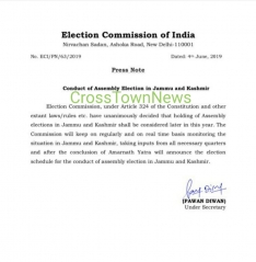 Conduct of Assembly Elections in J&K; Press Statement by Election Commission