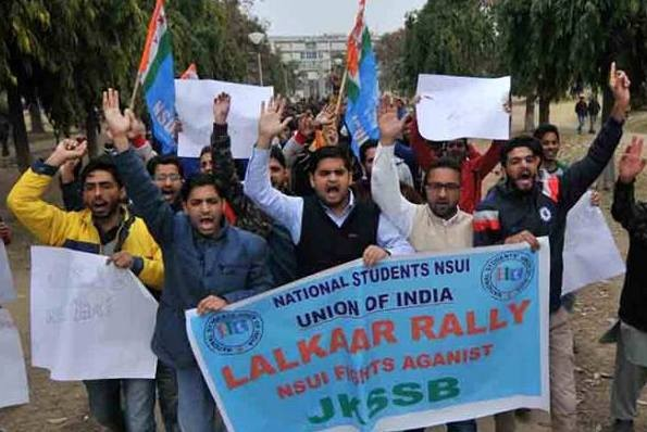 NSUI takes out 'Lalkaar' Rally' against Govt, JKSSB led by Fairoz & Kundan