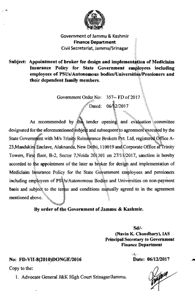 Appointment Of Broker For Design And Implementation Of Mediclaim