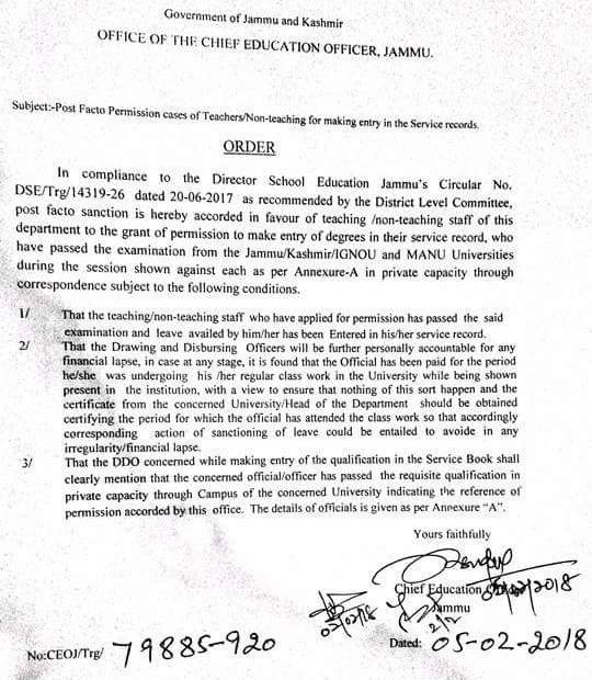 Post Facto Permission Cases Of Teachers/Non Teaching For