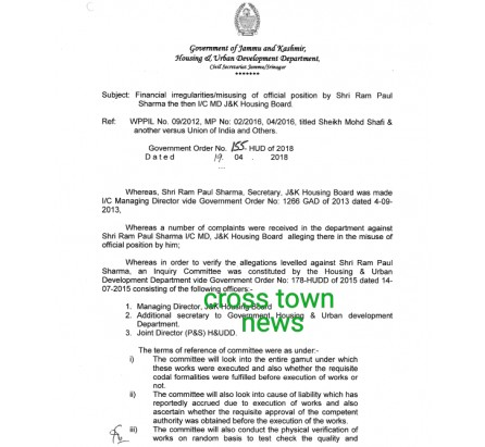Ram Paul, then MD J&K HOUSING Board debarred from further promotions in Financial irregularities/misusing of official position