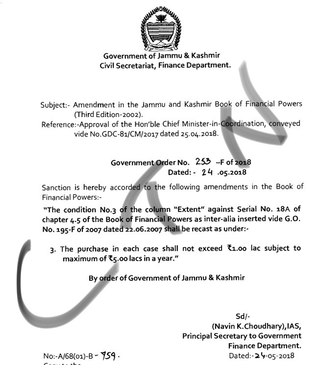 Amendment in the Jammu and Kashmir Book of Financial Powers Third Edition-2002
