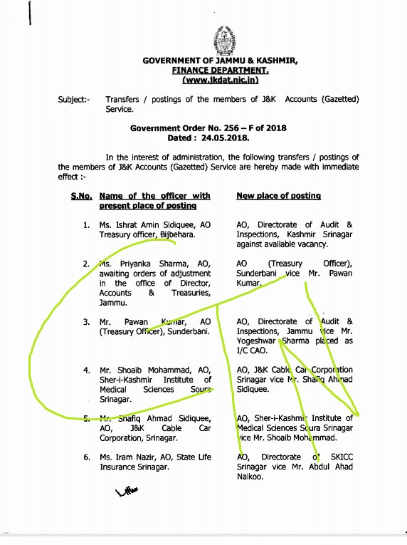 Transfer & postings of J&K Accounts (Gazetted) Services  Officers