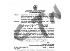 Appointment of Nodal Officer for  in the J&K Govt Resident Commission New Delhi