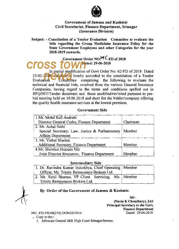 Constitution of Tender Evaluation Committee - Cross Town