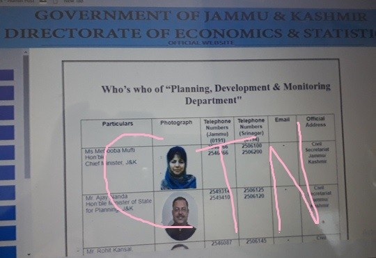 Loyality of Planing Dept to Mehbooba: Web still shows Mehboobs as Minister