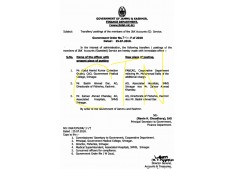 Transfer & postings of members of J&K Accounts(Gazetted) Services