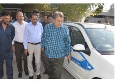 Samoon test drives first electric car; Distributes promotion orders among 117 employees