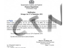 J&K Finance dept issues SRO 464 (Every Electronic Commerce Operator, not an Agent)