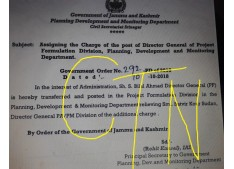 Assigning the charge of DG of projects Formulation Division