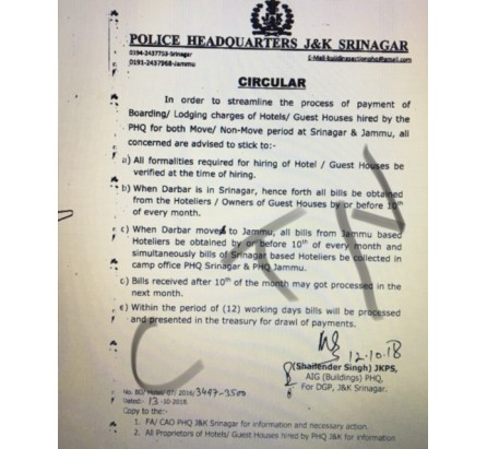 Circular regarding  Boarding / Lodging charges of Accommodations hired by the  J&K Police HQ