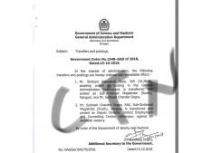 J&K Govt orders transfer and posting IAS/KAS Officers; Suse SDM South