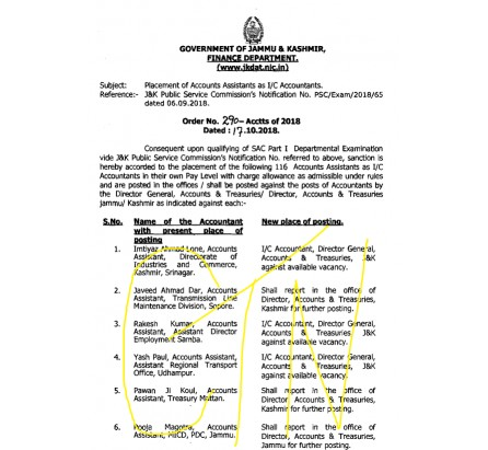 116 promotions of officers in Finance Department