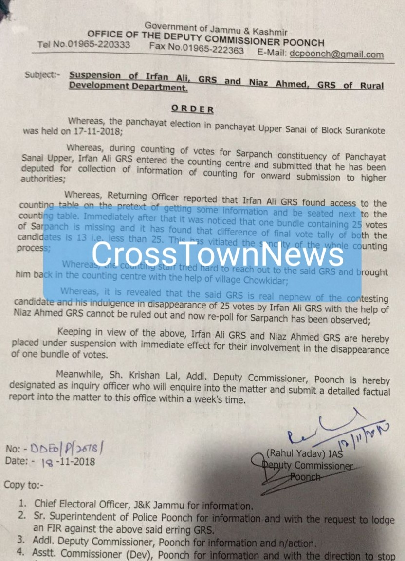 Suspension of 2 Employees in J&K for interfering in Sarpanch elections