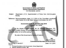 Repatriation of Sr Superintendent of Police from Anti -Corruption Bureau