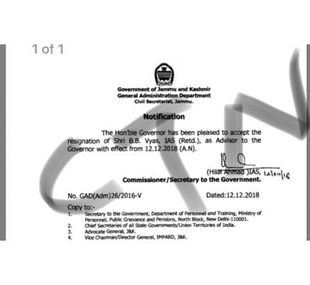 J&K Governor accepts resignation of Advisor BB Vyas