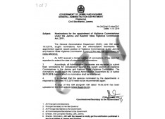 Nominations for the appointment of Vigilance Commissioner under the JK State Vigilance Commission Act 2011