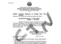Finance department sanctions Financial Assistance to Football Club Real Kashmir