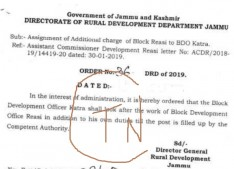 Assigning of the additional charge of the posts of Block Dev Officer..?