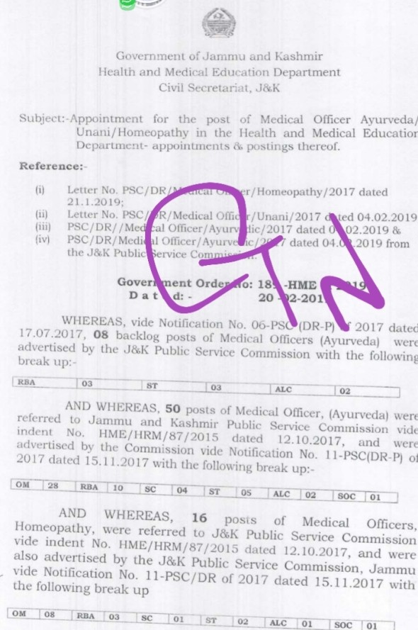 Appointment for the posts of Medical Officers