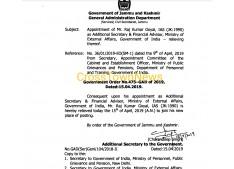 Senior J&K Cadre IAS Officer RK Goyal proceeds on Central deputation ; gets Prestigious posting at Centre in External Affairs Ministry