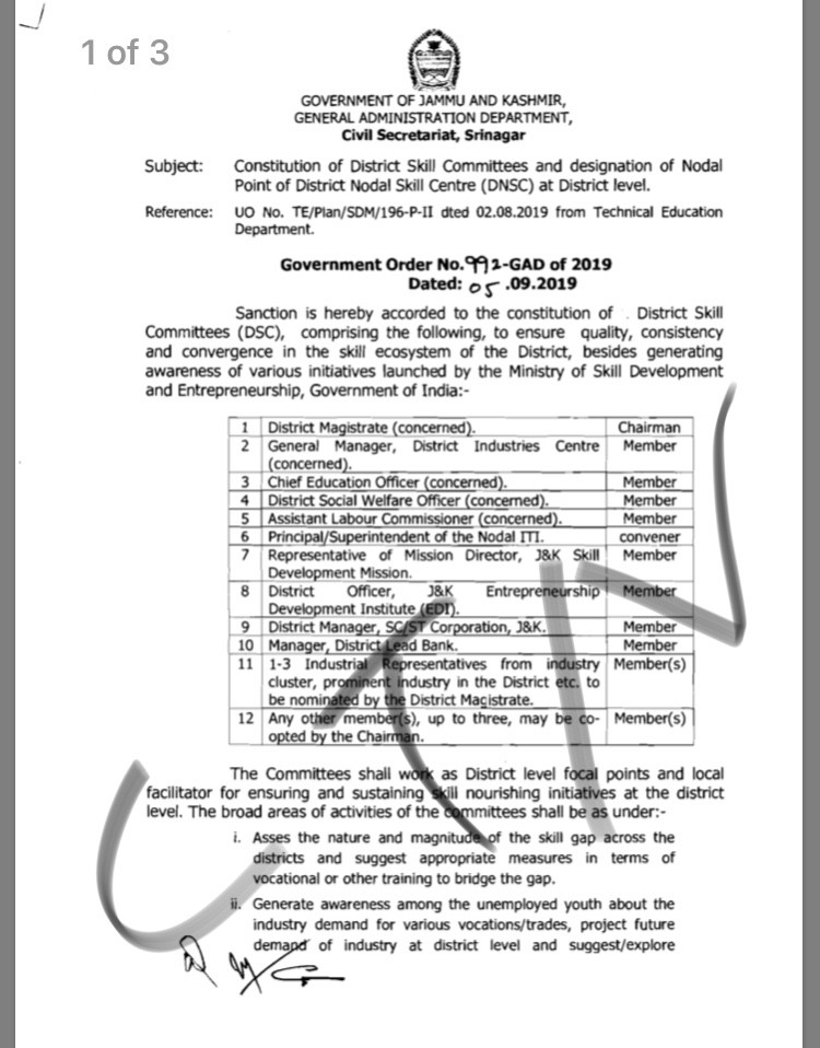 Constitution of District Skill Committees and designation of