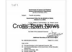 Rakesh Magotra posted as Additional Secretary in Secretariat of LG J&K