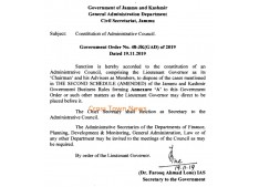 Constitution of Administrative Council in J&K