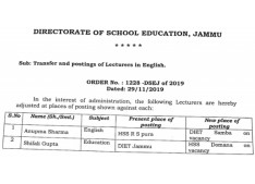 Transfers and postings of Lecturers