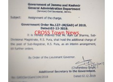 Assigning  the charge of the posts of Sub Registrar