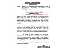 J&K Govt directs for holding of seminars/important events at SKICC