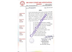 J&K High Court BAR Association Jammu Members to hold Hunger strike from tomorrow