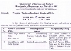 J&k Govt orders Transfers and postings of 15 Assistant Directors