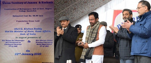 Union Minister G Kishan Reddy visits Ganderbal; RR Bhatnagar, Shaleen Kabra accompany Minister