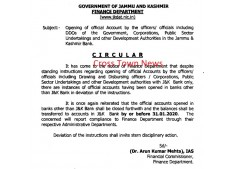 Government directs for opening of Official Accounts only in J&K Bank