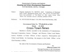 H&UD J&K appoints Nodal Officer for submitting progress report to Chief Secretary's office